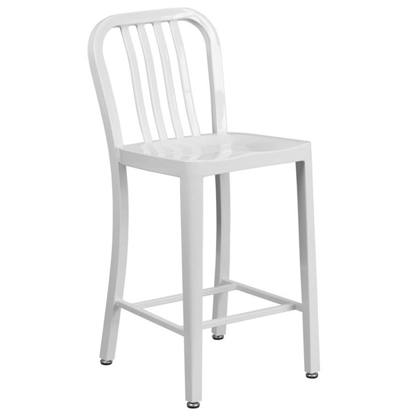 Flash Furniture White Metal 24 Inch Indoor Outdoor Counter Height Stool FLF-CH-61200-24-WH-GG