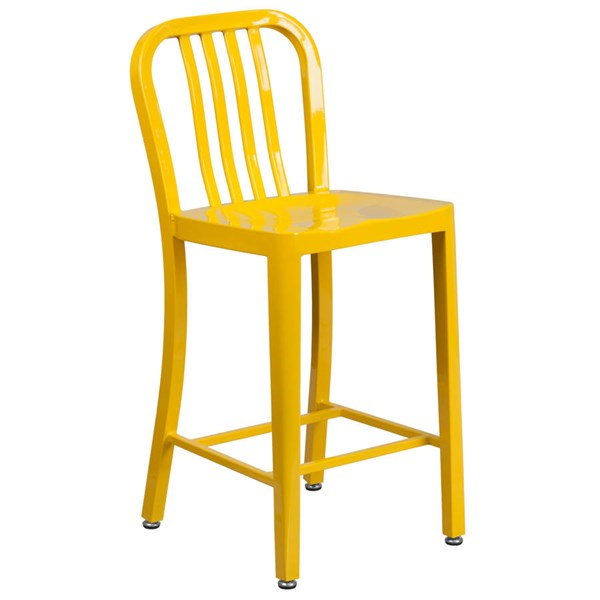 Flash Furniture Yellow Metal 24 Inch Indoor Outdoor Counter Height Stool FLF-CH-61200-24-YL-GG