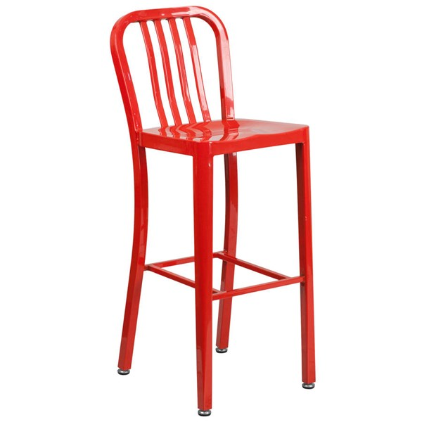 Flash Furniture Red Metal 30 Inch Indoor Outdoor Barstool FLF-CH-61200-30-RED-GG