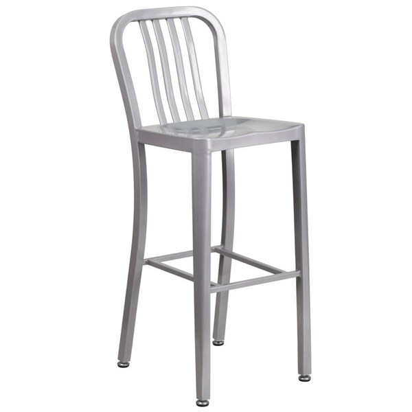 Flash Furniture Silver Metal 30 Inch Indoor Outdoor Barstool FLF-CH-61200-30-SIL-GG