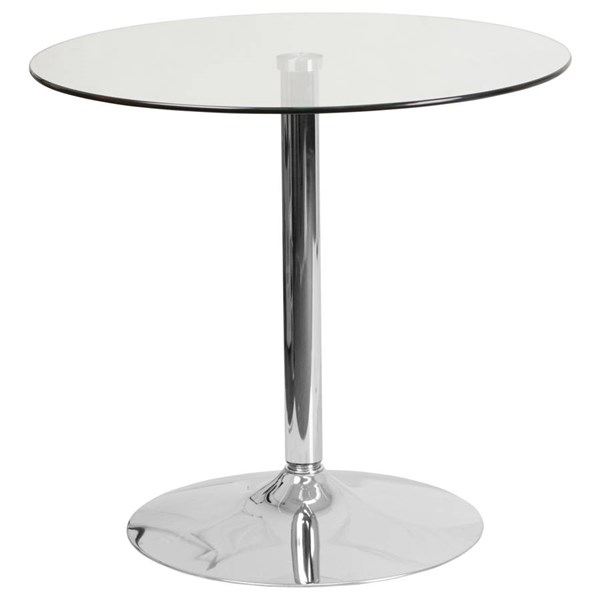 Flash Furniture Round Clear Glass Top and Chrome Base 29 Inch Height Table FLF-CH-7-GG