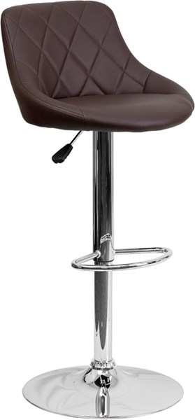 Brown Metal Plastic Vinyl Bucket Seat Adjustable Height Barstool FLF-CH-82028A-BRN-GG