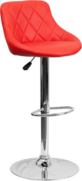 Red Metal Plastic Vinyl Bucket Seat Adjustable Height Barstool FLF-CH-82028A-RED-GG
