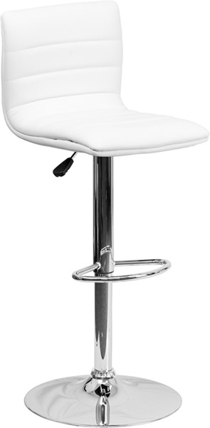 Contemporary White Metal Plastic Vinyl Adjustable Height Barstool FLF-CH-92023-1-WH-GG