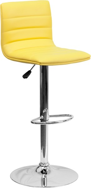Contemporary Yellow Metal Plastic Vinyl Adjustable Height Barstool FLF-CH-92023-1-YEL-GG