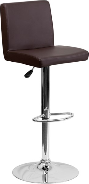 Brown Chrome Metal Plastic Vinyl Adjustable Height Barstool FLF-CH-92066-BRN-GG