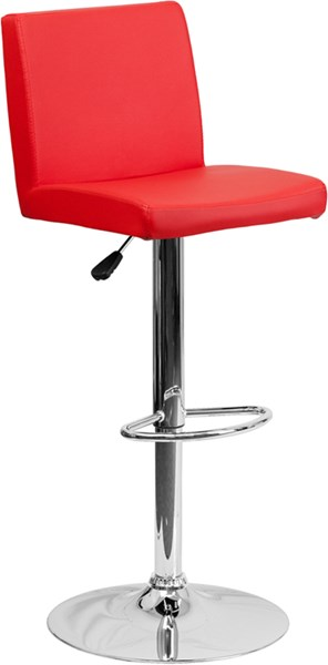 Red Metal Plastic Vinyl Adjustable Height Barstool W/Chrome Base FLF-CH-92066-RED-GG