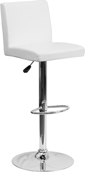 Contemporary White Metal Vinyl Adjustable Height Barstool FLF-CH-92066-WH-GG