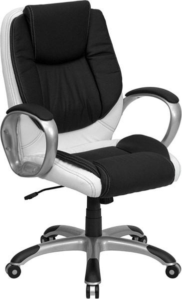 Mid-Back Black & White Leather Executive Swivel Office Chair FLF-CH-CX0217M-GG