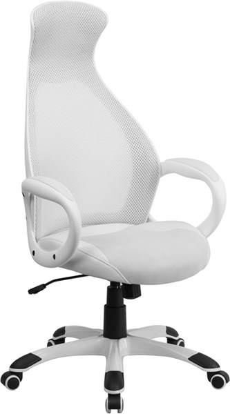 High Back White Mesh Executive Swivel Office Chair with Leather Seat FLF-CH-CX0528H01-WH-LEA-GG