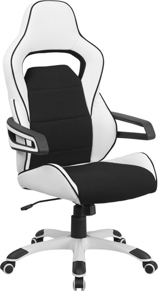Flash Furniture White Vinyl Black Fabric Executive Swivel Office Chair FLF-CH-CX0713H01-GG
