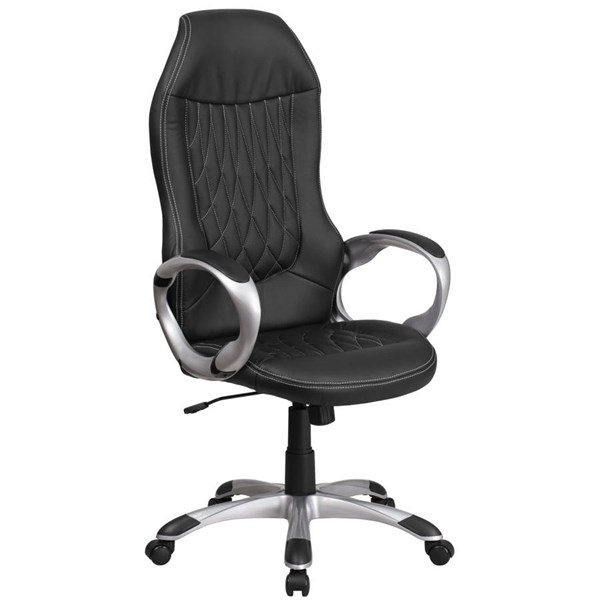 Flash Furniture Black Vinyl Executive Swivel Chair with Arms FLF-CH-CX0906H-BK-GG