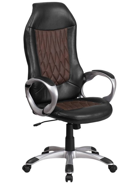 Flash Furniture Brown Fabric and Black Vinyl Executive Swivel Chair with Arms FLF-CH-CX0906H-GG