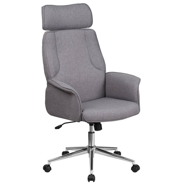 Flash Furniture Gray Fabric Executive Swivel Chair with Chrome Base FLF-CH-CX0944H-GY-GG