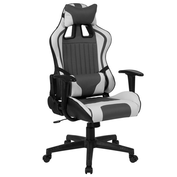 Flash Furniture Cumberland Comfort Gray White Executive Reclining Swivel Chair FLF-CH-CX1063H-GG