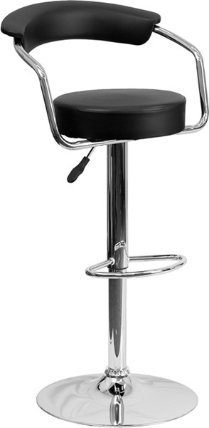 Contemporary Black Metal Plastic Vinyl Adjustable Height Barstool FLF-CH-TC3-1060-BK-GG