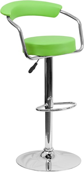 Green Chrome Metal Plastic Vinyl Adjustable Height Barstool W/Arms FLF-CH-TC3-1060-GRN-GG