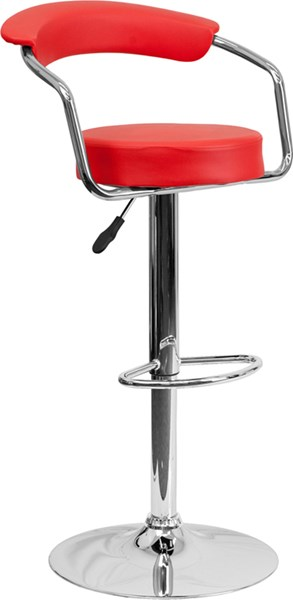 Contemporary Red Metal Plastic Vinyl Adjustable Height Barstool W/Arms FLF-CH-TC3-1060-RED-GG