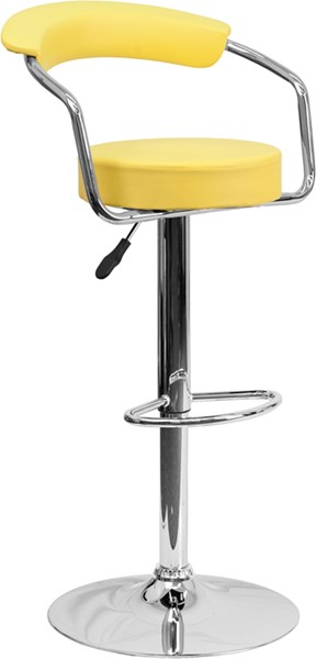 Contemporary Yellow Metal Vinyl Adjustable Height Barstool W/Arms FLF-CH-TC3-1060-YEL-GG