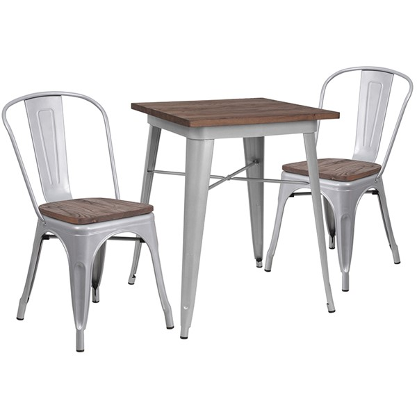Flash Furniture Contemporary Silver Square Metal Table Set FLF-CH-WD-TBCH-1-GG