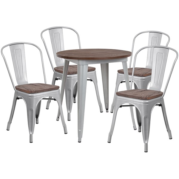 Flash Furniture 26 Round Metal Table Set FLF-CH-WD-TBCH-10-GG-DT-VAR