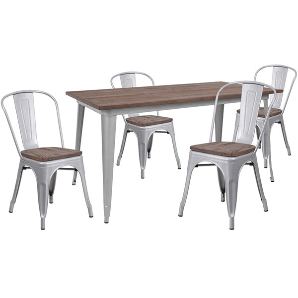 Flash Furniture 30 x 60 Metal Table Set FLF-CH-WD-TBCH-13-GG-DT-VAR