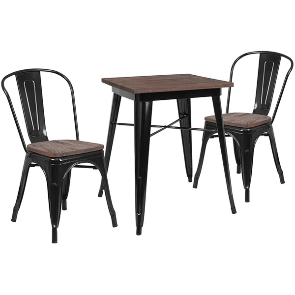 Flash Furniture Square Metal Table Sets FLF-CH-WD-TBCH-GG-DT-VAR