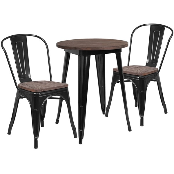 Flash Furniture 24 Round Metal Table Set FLF-CH-WD-TBCH-21-GG-DT-VAR