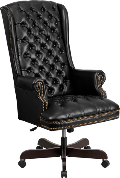 Black Mahogany Fabric Leather Wood Executive Swivel Office Chair FLF-CI-360-BK-GG