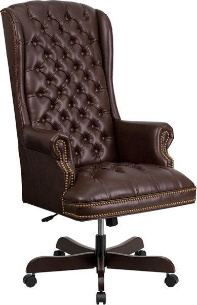 Flash Furniture Brown Leather Tufted Executive Swivel Office Chair FLF-CI-360-BRN-GG
