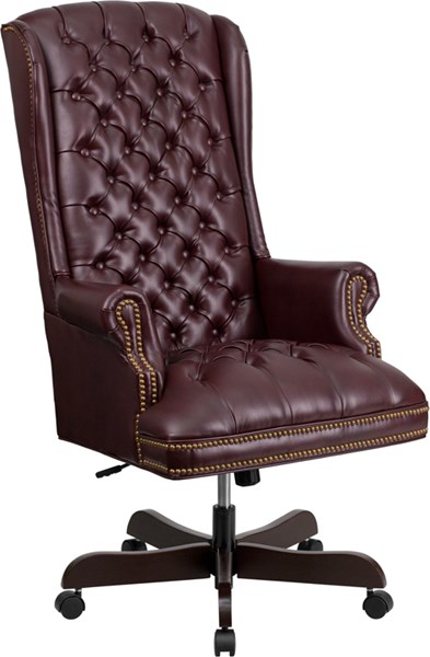 Flash Furniture Burgundy Leather Tufted Executive Swivel Office Chair FLF-CI-360-BY-GG