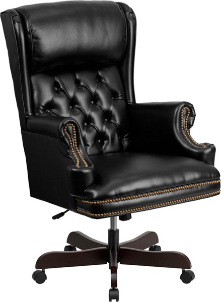 Flash Furniture Traditional Tufted Black Leather Executive Swivel Office Chair FLF-CI-J600-BK-GG