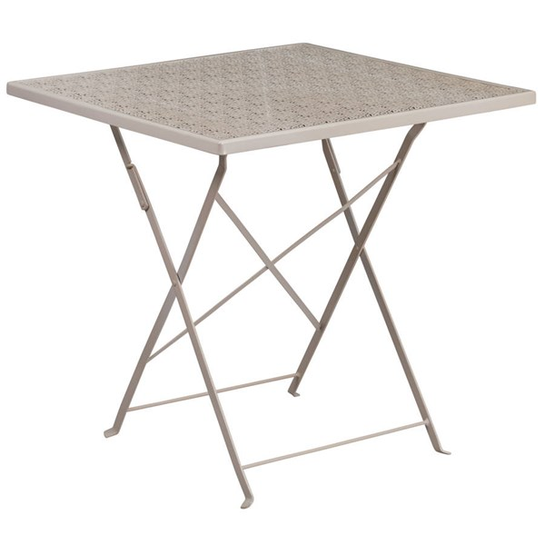 Flash Furniture 28 Inch Light Gray Indoor Outdoor Folding Patio Table FLF-CO-1-SIL-GG