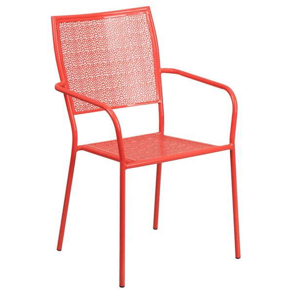 Flash Furniture Coral Indoor Outdoor Patio Arm Chair with Square Back FLF-CO-2-RED-GG
