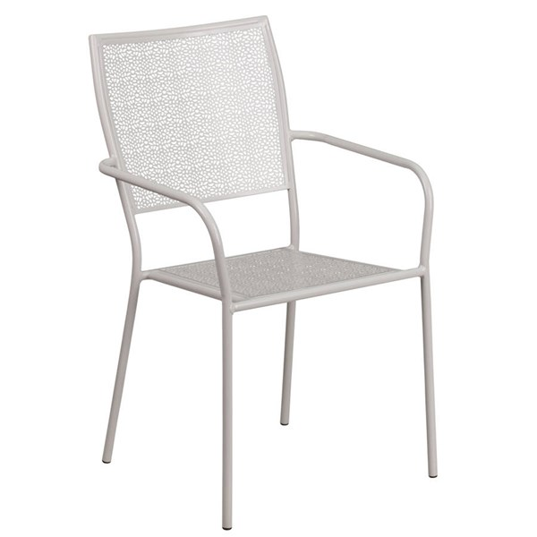 Flash Furniture Light Gray Indoor Outdoor Patio Arm Chair with Square Back FLF-CO-2-SIL-GG