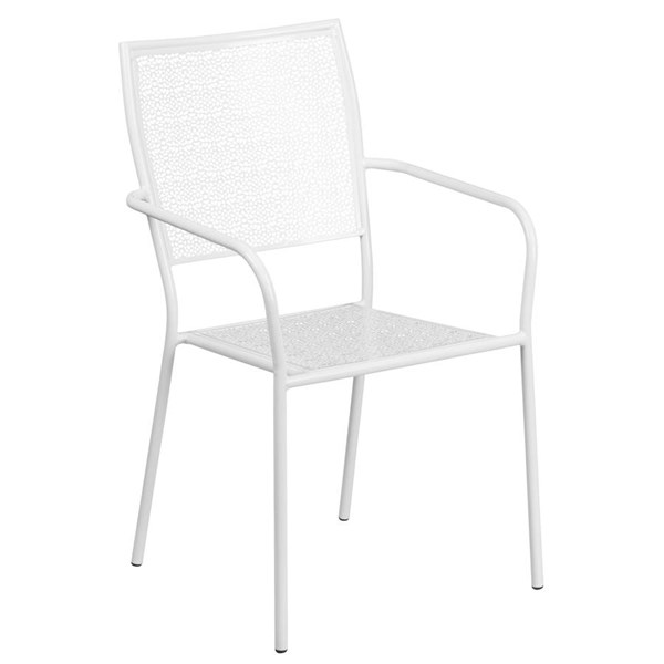 Flash Furniture White Indoor Outdoor Patio Arm Chair with Square Back FLF-CO-2-WH-GG