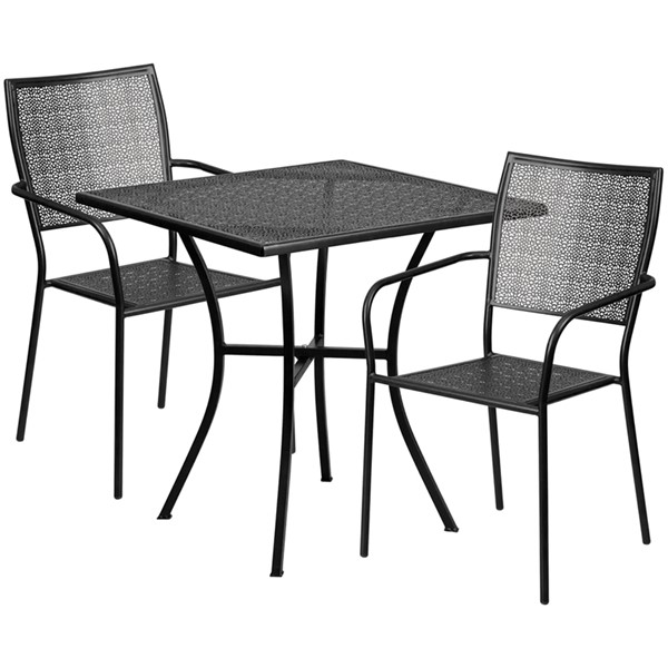 Flash Furniture 28 Square Patio Table Set FLF-CO-28SQ-02CHR2-GG-OUT-DR-VAR