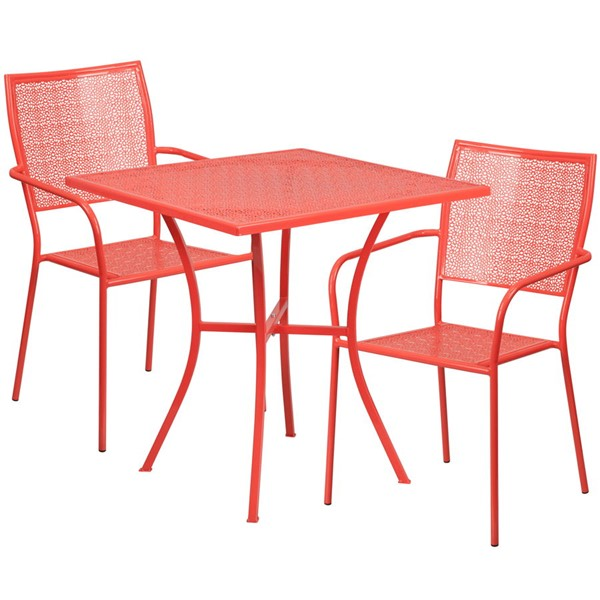 Flash Furniture Coral 28 Square Patio Table Set FLF-CO-28SQ-02CHR2-RED-GG