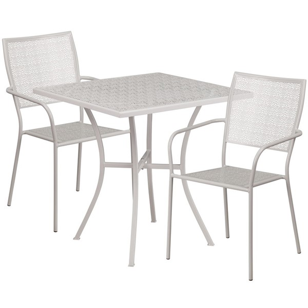 Flash Furniture Light Gray 28 Square Patio Table Set FLF-CO-28SQ-02CHR2-SIL-GG