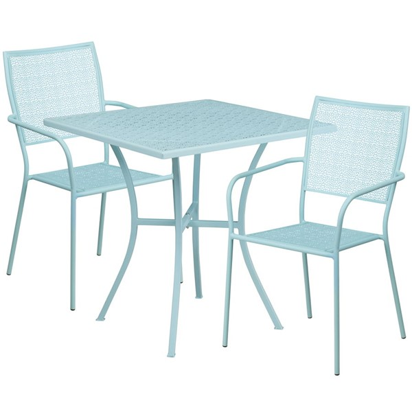 Flash Furniture Sky Blue 28 Square Patio Table Set FLF-CO-28SQ-02CHR2-SKY-GG