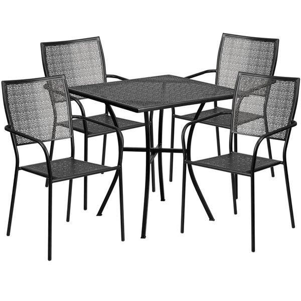 Flash Furniture Black 28 Square Patio 5pc Outdoor Dining Set FLF-CO-28SQ-02CHR4-BK-GG