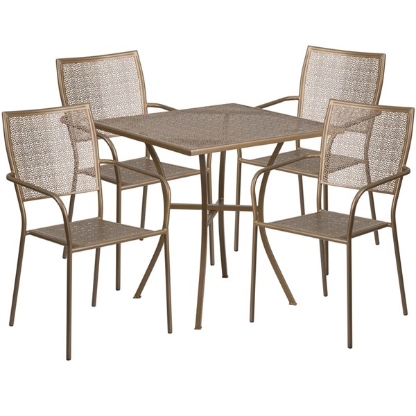 Flash Furniture Gold 28 Square Patio 5pc Outdoor Dining Set FLF-CO-28SQ-02CHR4-GD-GG