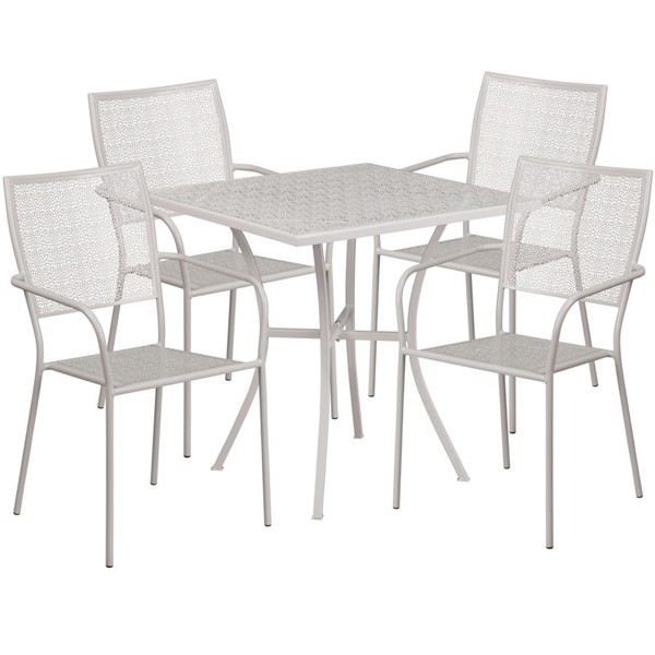 Flash Furniture Light Gray 28 Square Patio 5pc Outdoor Dining Set FLF-CO-28SQ-02CHR4-SIL-GG