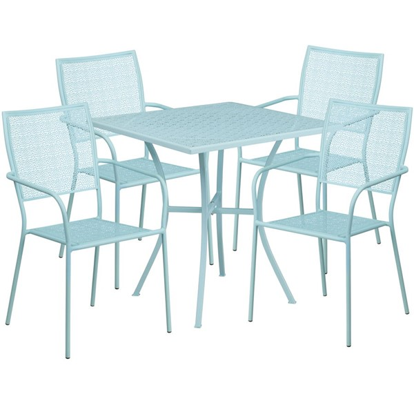 Flash Furniture Sky Blue 28 Square Patio 5pc Outdoor Dining Set FLF-CO-28SQ-02CHR4-SKY-GG