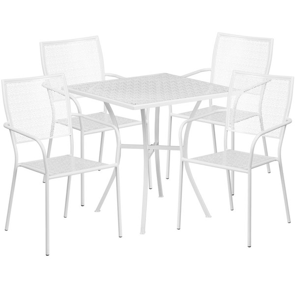 Flash Furniture White 28 Square Patio 5pc Outdoor Dining Set FLF-CO-28SQ-02CHR4-WH-GG