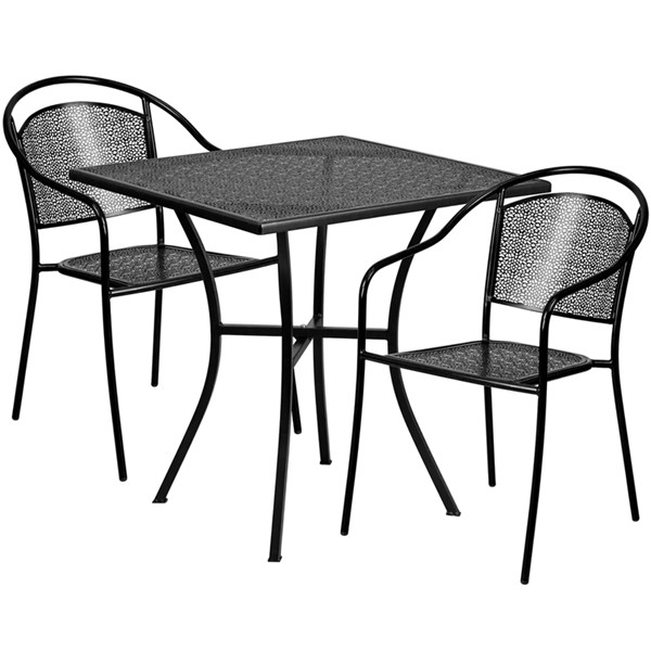 Flash Furniture 28 Square Patio 3pc Outdoor Dining Sets FLF-CO-28SQ-03CHR2-GG-OUT-DR-VAR