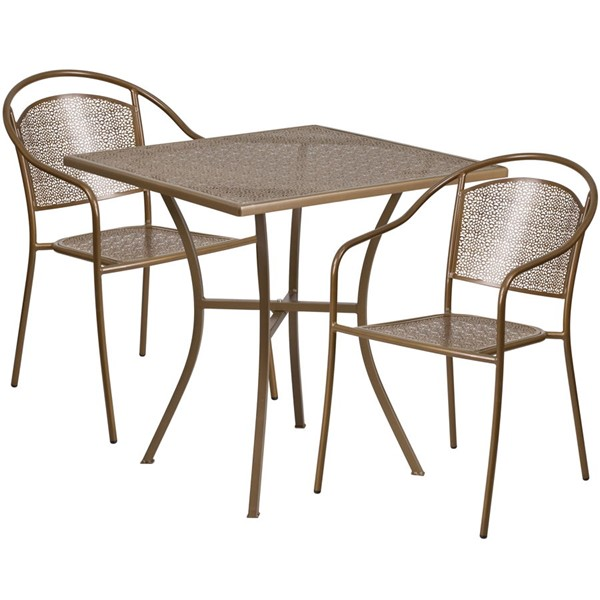 Flash Furniture Gold 28 Square Patio 3pc Outdoor Dining Set FLF-CO-28SQ-03CHR2-GD-GG