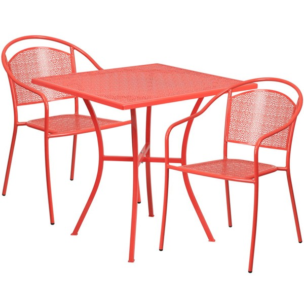 Flash Furniture Coral 28 Square Patio 3pc Outdoor Dining Set FLF-CO-28SQ-03CHR2-RED-GG