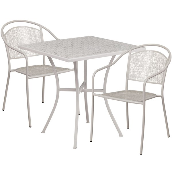 Flash Furniture Light Gray 28 Square Patio 3pc Outdoor Dining Set FLF-CO-28SQ-03CHR2-SIL-GG