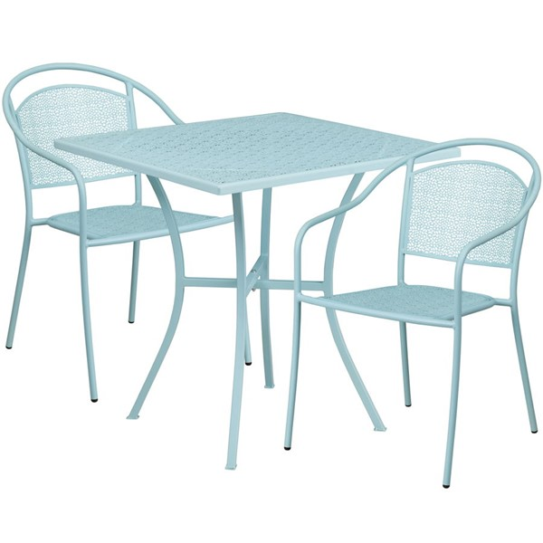 Flash Furniture Sky Blue 28 Square Patio 3pc Outdoor Dining Set FLF-CO-28SQ-03CHR2-SKY-GG